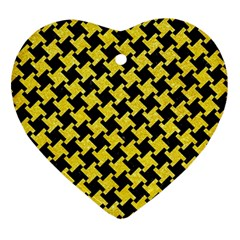 Houndstooth2 Black Marble & Gold Glitter Ornament (heart)