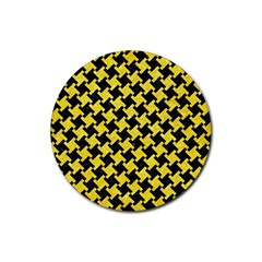 Houndstooth2 Black Marble & Gold Glitter Rubber Round Coaster (4 Pack)