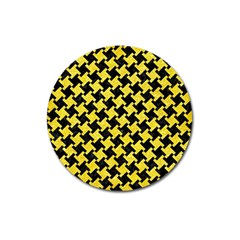 Houndstooth2 Black Marble & Gold Glitter Magnet 3  (round)