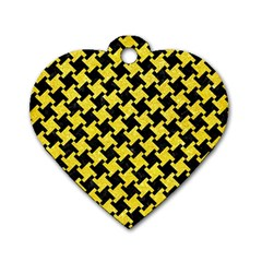 Houndstooth2 Black Marble & Gold Glitter Dog Tag Heart (one Side)