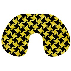 Houndstooth2 Black Marble & Gold Glitter Travel Neck Pillows