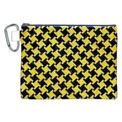 Houndstooth2 Black Marble & Gold Glitter Canvas Cosmetic Bag (xxl)