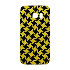 Houndstooth2 Black Marble & Gold Glitter Galaxy S6 Edge