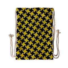 Houndstooth2 Black Marble & Gold Glitter Drawstring Bag (small)