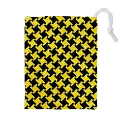 Houndstooth2 Black Marble & Gold Glitter Drawstring Pouches (extra Large)