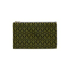 Hexagon1 Black Marble & Gold Glitter Cosmetic Bag (small)