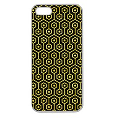 Hexagon1 Black Marble & Gold Glitter Apple Seamless Iphone 5 Case (clear)