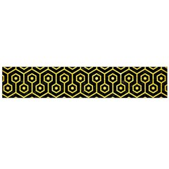 Hexagon1 Black Marble & Gold Glitter Flano Scarf (large)