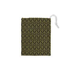 Hexagon1 Black Marble & Gold Glitter Drawstring Pouches (xs)