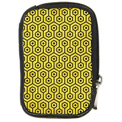 Hexagon1 Black Marble & Gold Glitter (r) Compact Camera Cases