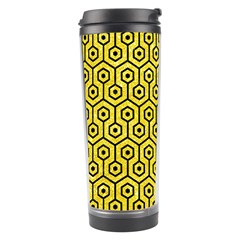 Hexagon1 Black Marble & Gold Glitter (r) Travel Tumbler