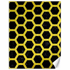 Hexagon2 Black Marble & Gold Glitter Canvas 18  X 24