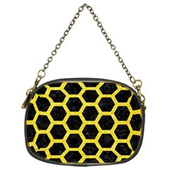 Hexagon2 Black Marble & Gold Glitter Chain Purses (two Sides)