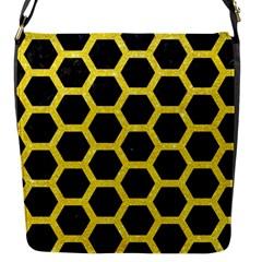 Hexagon2 Black Marble & Gold Glitter Flap Messenger Bag (s)