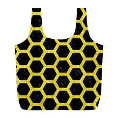 Hexagon2 Black Marble & Gold Glitter Full Print Recycle Bags (l)