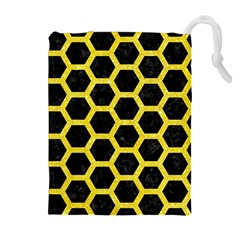 Hexagon2 Black Marble & Gold Glitter Drawstring Pouches (extra Large)