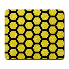 Hexagon2 Black Marble & Gold Glitter (r) Large Mousepads
