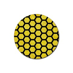 Hexagon2 Black Marble & Gold Glitter (r) Rubber Round Coaster (4 Pack)