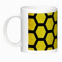 Hexagon2 Black Marble & Gold Glitter (r) Night Luminous Mugs