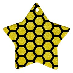 Hexagon2 Black Marble & Gold Glitter (r) Star Ornament (two Sides)