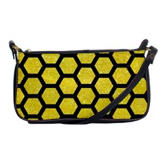 Hexagon2 Black Marble & Gold Glitter (r) Shoulder Clutch Bags