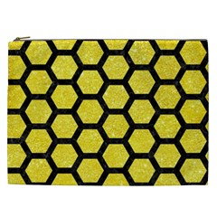 Hexagon2 Black Marble & Gold Glitter (r) Cosmetic Bag (xxl)