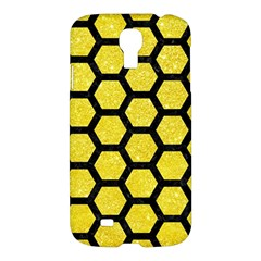 Hexagon2 Black Marble & Gold Glitter (r) Samsung Galaxy S4 I9500/i9505 Hardshell Case