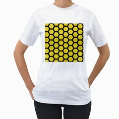 Hexagon2 Black Marble & Gold Glitter (r) Women s T Shirt (white)