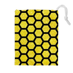 Hexagon2 Black Marble & Gold Glitter (r) Drawstring Pouches (extra Large)