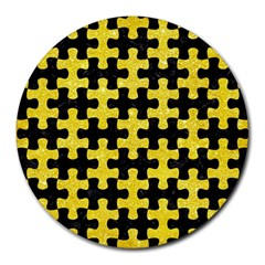 Puzzle1 Black Marble & Gold Glitter Round Mousepads