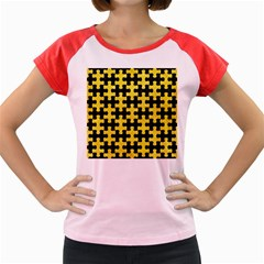Puzzle1 Black Marble & Gold Glitter Women s Cap Sleeve T Shirt