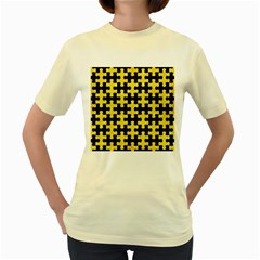 Puzzle1 Black Marble & Gold Glitter Women s Yellow T Shirt