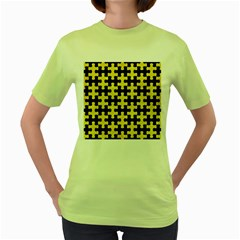 Puzzle1 Black Marble & Gold Glitter Women s Green T Shirt