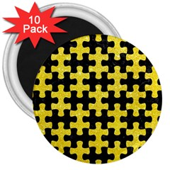 Puzzle1 Black Marble & Gold Glitter 3  Magnets (10 Pack)
