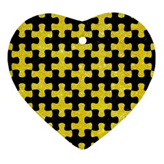 Puzzle1 Black Marble & Gold Glitter Heart Ornament (two Sides)