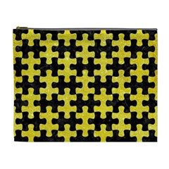 Puzzle1 Black Marble & Gold Glitter Cosmetic Bag (xl)
