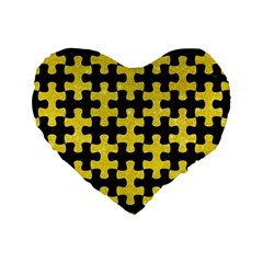 Puzzle1 Black Marble & Gold Glitter Standard 16  Premium Heart Shape Cushions