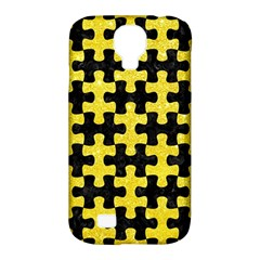 Puzzle1 Black Marble & Gold Glitter Samsung Galaxy S4 Classic Hardshell Case (pc+silicone)