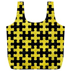 Puzzle1 Black Marble & Gold Glitter Full Print Recycle Bags (l)