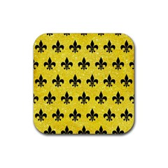 Royal1 Black Marble & Gold Glitter Rubber Square Coaster (4 Pack)