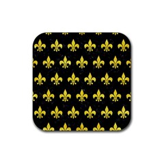 Royal1 Black Marble & Gold Glitter (r) Rubber Coaster (square)