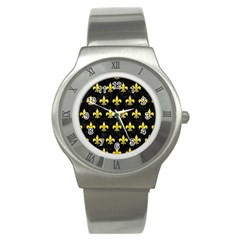 Royal1 Black Marble & Gold Glitter (r) Stainless Steel Watch