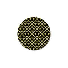 Scales1 Black Marble & Gold Glitter Golf Ball Marker