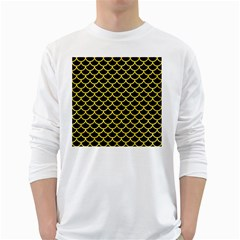 Scales1 Black Marble & Gold Glitter White Long Sleeve T Shirts