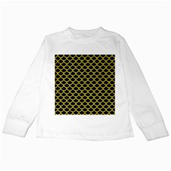 Scales1 Black Marble & Gold Glitter Kids Long Sleeve T Shirts