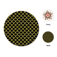 Scales1 Black Marble & Gold Glitter Playing Cards (round)