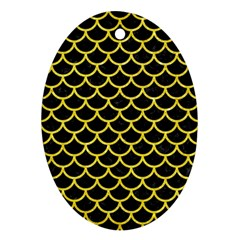 Scales1 Black Marble & Gold Glitter Oval Ornament (two Sides)