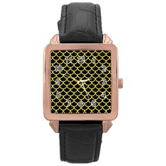 Scales1 Black Marble & Gold Glitter Rose Gold Leather Watch