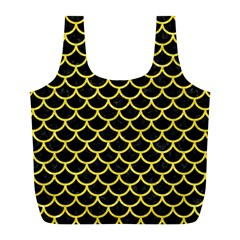 Scales1 Black Marble & Gold Glitter Full Print Recycle Bags (l)