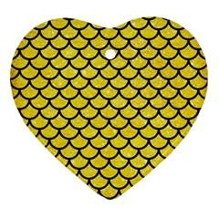 Scales1 Black Marble & Gold Glitter (r) Ornament (heart)